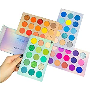 Beauty Glazed 60 Colors Glitter Eyeshadow Palette, Highly Pigmented Makeup Palette Mattes Shimmers Naked Smokey Glitter Cream Colorful Powder Blendable Long Lasting Waterproof Eye Shadow Palette