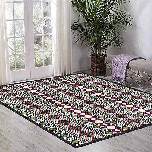 Retro, Area Rug for Bedroom, Illustration of Ukrainian Pattern Ornament Traditional Borders Ethnic and Slovenian, Children Kids Nursery Rugs Floor Carpet 6.6x10 Ft - Ornament Traditional Rug