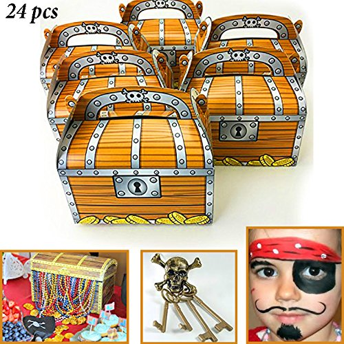 Pirates Theme Party (Adorox 24 Pack Pirate Treasure Chest Decoration Party Favor Goodie Candy Box Grab Bag)