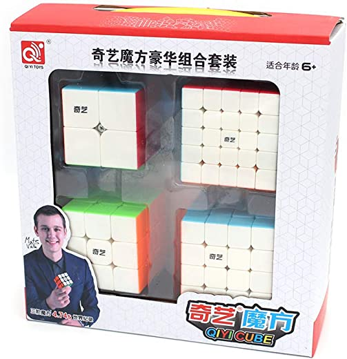 Cubelelo QiYi 2x2 3x3 4x4 & 5x5 Stickerless Combo Set Speedcubing Bundle Cubes Magic Puzzle