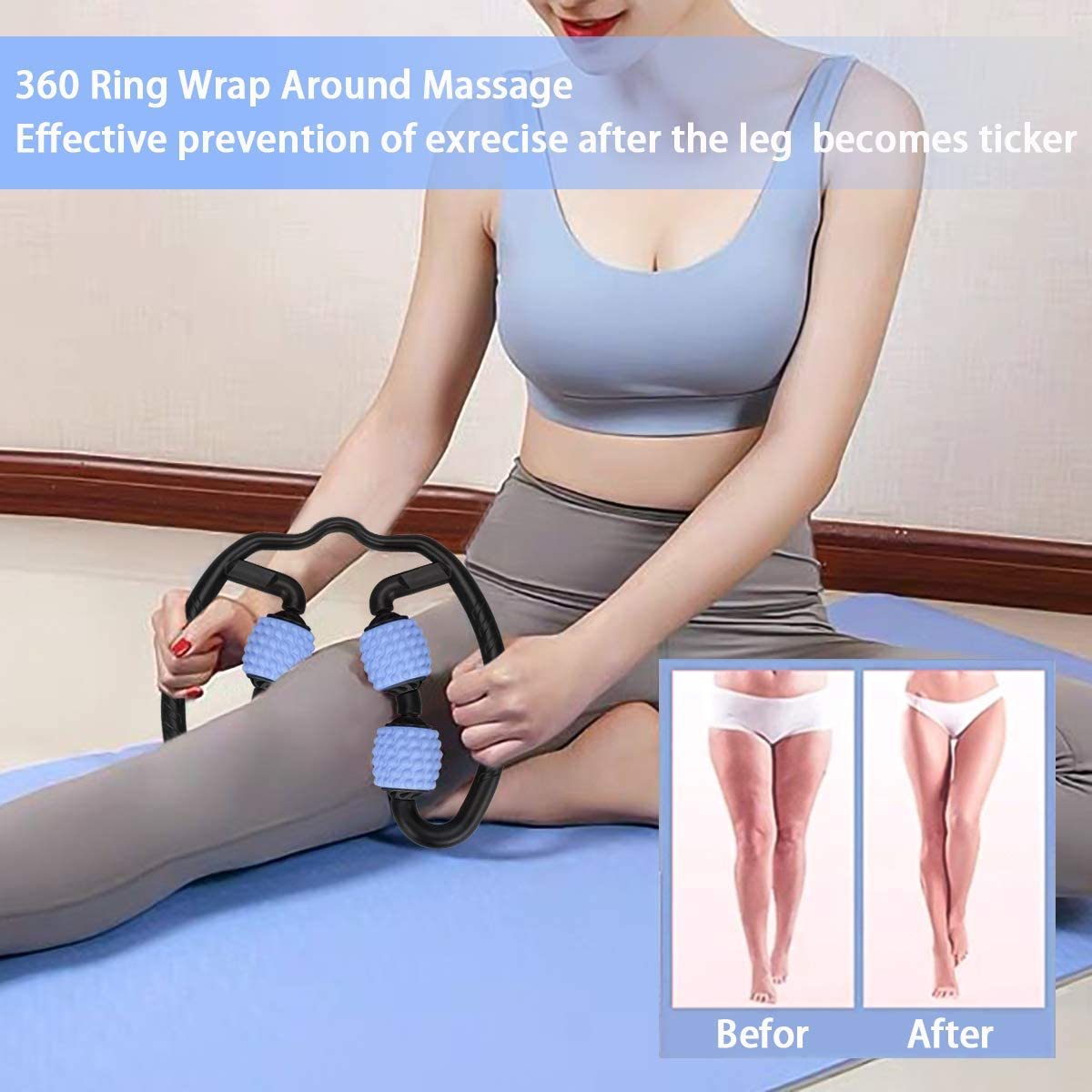 ELOKI Foam Roller Massager Tools 3D Foam Roller 360/°Massager Full Body Relaxation Tool Yoga Fitness 4 Wheels Roller Muscle Therapy Stick