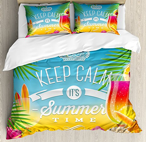 Ambesonne Beach Duvet Cover Set Queen Size, Its Summer Time Colorful Tropic Arrangement Surfing Holiday Exotic Palm Tree Pattern, Decorative 3 Piece Bedding Set with 2 Pillow Shams, Multicolor (Tree Palm Pattern)