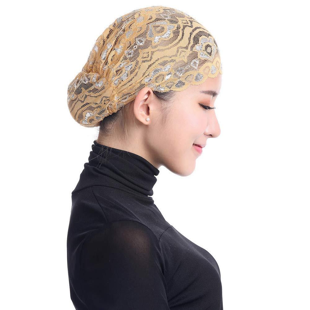 Beikoard Mujer Musulmán Estiramiento Encaje Turbante Sombrero Chemo Cap Cabello Pérdida Cabeza Bufanda Wrap Tapa, Golpe De Destello Casquillo Bajo Sombrero