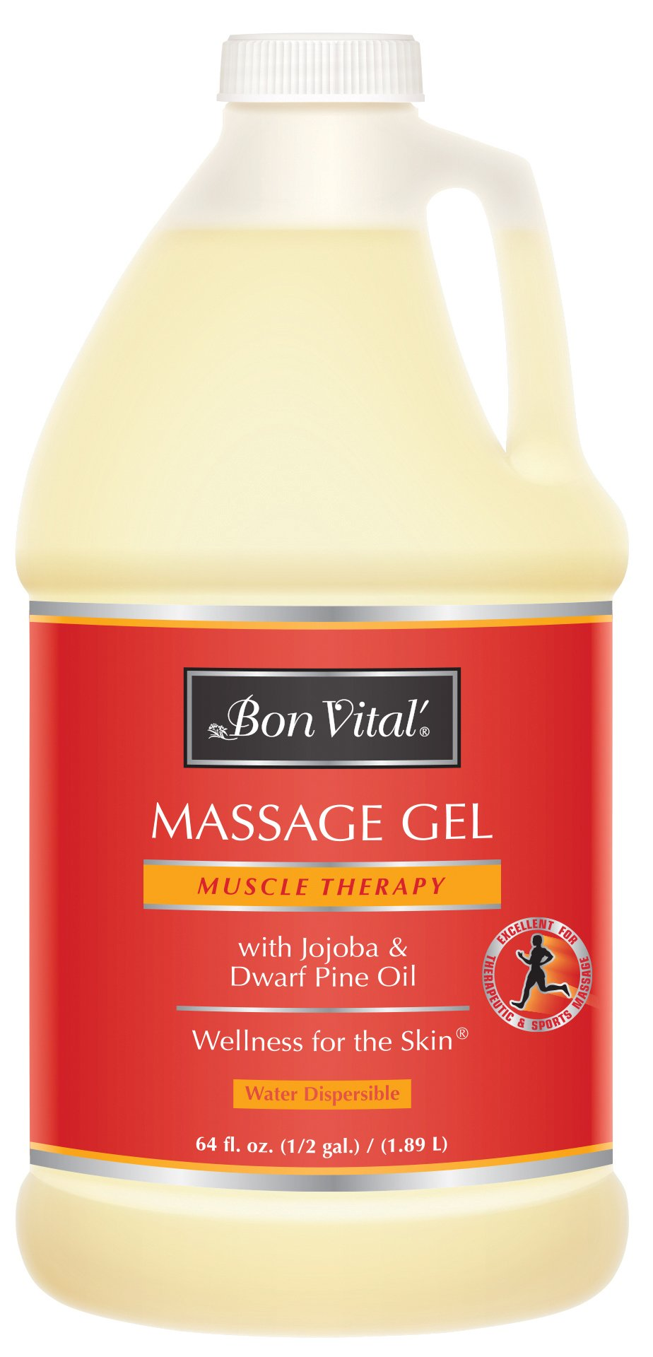 Bon Vital' Muscle Therapy Massage Gel Made with Dwarf Pine Oil & Essential Oils for a Relaxing Massage, Arthritis Pain Relief, and Sore Muscle Relief, Great for Use in Graston and IASTM, 1/2 Gallon