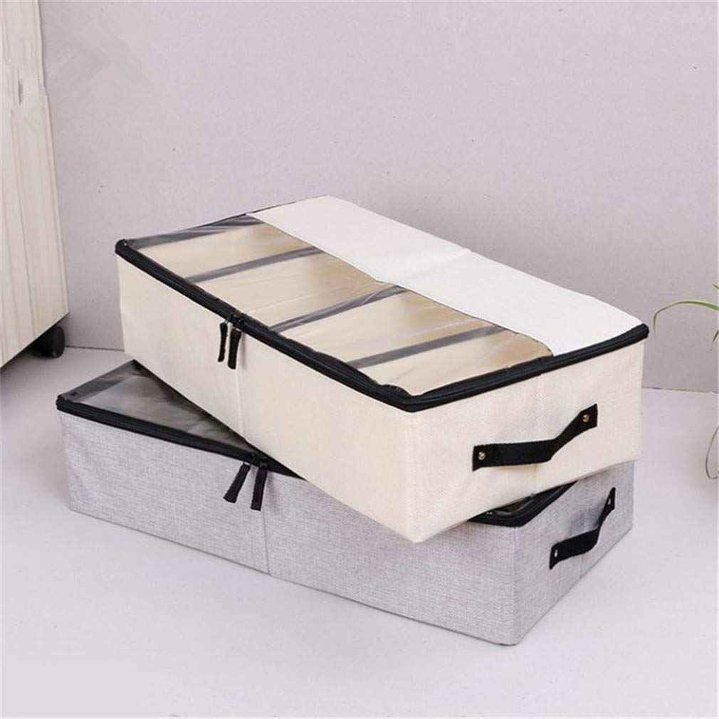 VADOLY Foldable Shoe Box Wardrobe Closet Organizer for Sock Bra Underwear Linen Cotton Storage Bag Under Bed Organizer by VADOLY (Image #5)