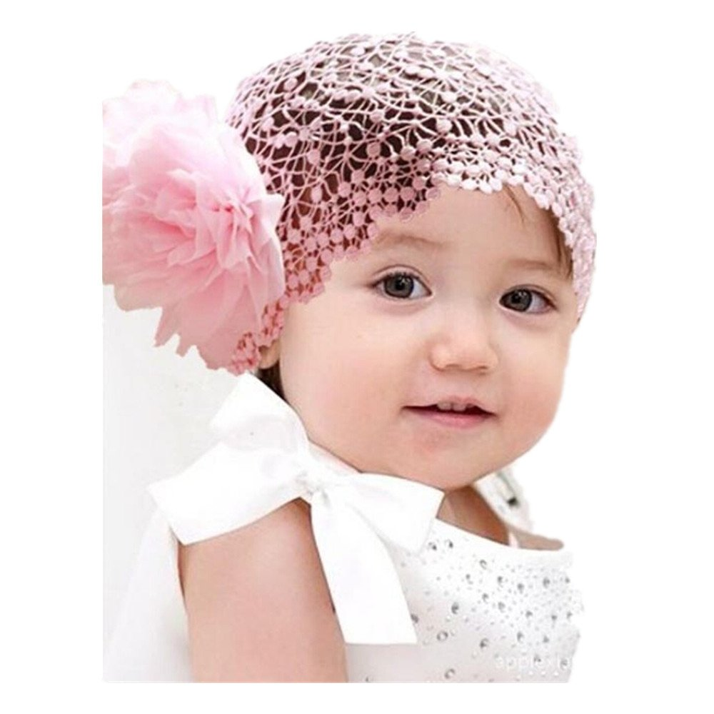 Lurryly Hair Accessories Baby Girl's Gift Chiffon Lace Bow Flower Headband Crochet