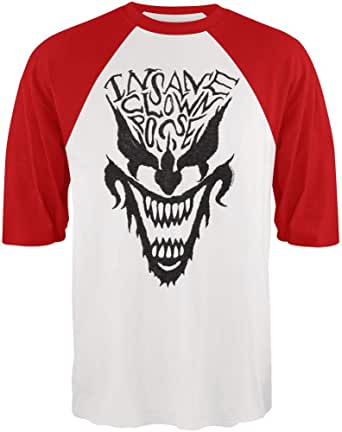 FEA - Camiseta - Unisex de Color Blanco de Talla Medium - Insane Clown Posse - Face Raglan - Medium Rosso: Amazon.es: Ropa y accesorios
