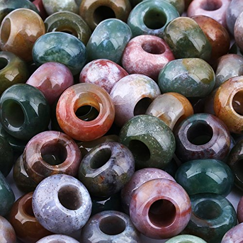 SUNYIK Natural Indian Agate European Bead for Charm Bracelet, Wholesale Loose Gemstone Big Hole (6mm) Beads for Jewelry Making, 14x8mm, Pack of 50