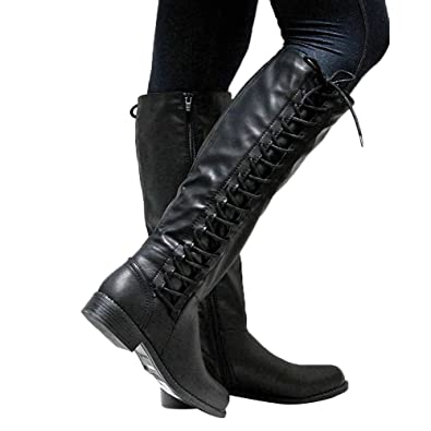 d1d02c8bba9e Minetom Womens Martin Boots Lace up Strappy Low Heel Motorcycle Riding Boots  Y Black 5.5 M