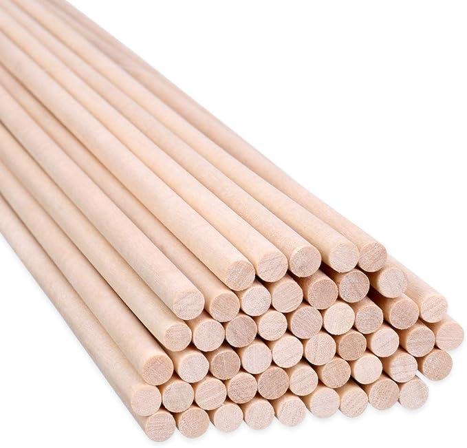 H&S 100 varillas de madera 30 cm x 6 mm Palos artesanales de ...