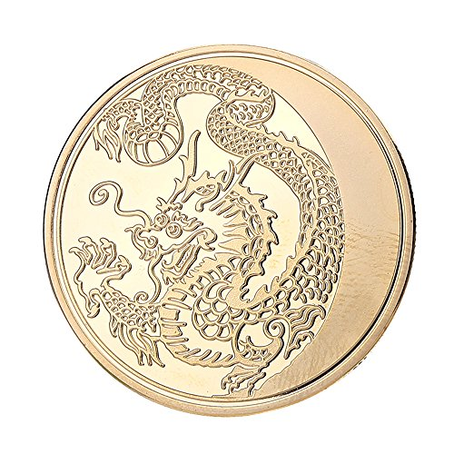 China Coin Commemorative (Gold Plated China Lunar Zodiac Dragon Commemorative Luck Collection Memorial Coins by Etouji)