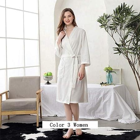 qiangdedianzishang Mujeres Hombres Bata de baño Algodón Ducha Ropa de Dormir Camisones Bata Hombre Mujer Albornoz Largo Mujer Hombre Pijama B XL: Amazon.es: Hogar