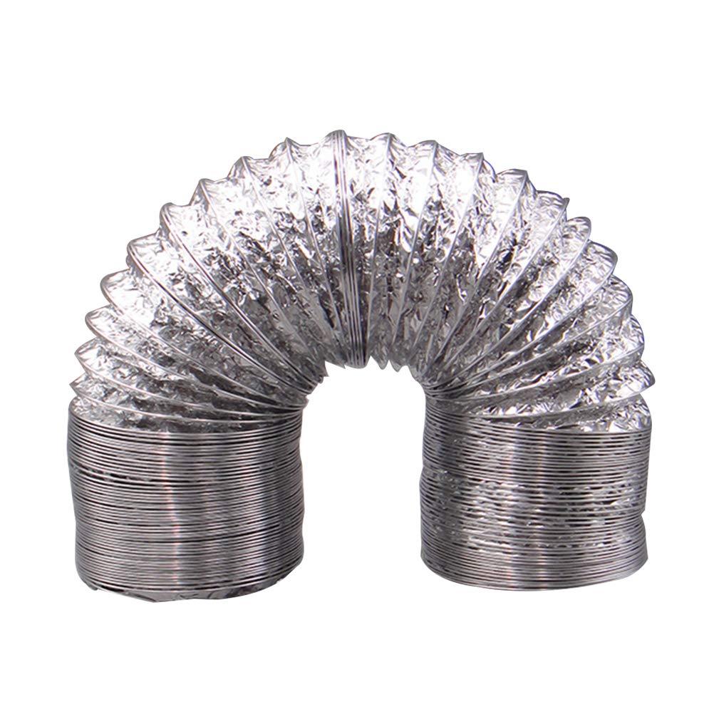 UKCOCO 1m Aluminiumfolie-Kanal-Schlauch-Flexluft-Einlass-Rohr-Belüftungs-Ventilator-Abluft-Entlüftungs-Schlauch für HVAC-Belüftung 100mm Durchmesser