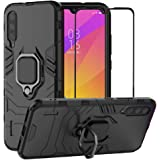 BestAlice for Xiaomi Mi A3 / CC9E Case, Hybrid Heavy Duty Protection Shockproof Defender Kickstand Armor Case Cover Tempered Glass Screen Protector,Black