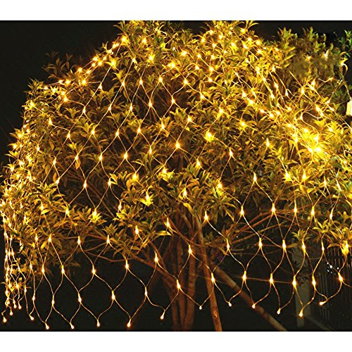 BlueSpace Outdoor String Lights Waterproof LED Light Christmas Decorations Net Mesh Fairy Decorative Lights for Christmas Tree Outdoor Garden Home Decor Patio Lawn Wedding Party Yellow