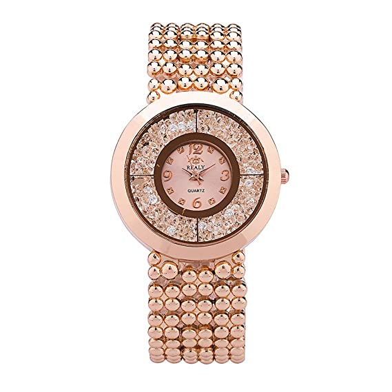 a2687e5ca Amazon.com: REALY Ladies Wrist Watch for Women Stainless Steel Bracelet  Watch for Girls- Rose Gold: Watches