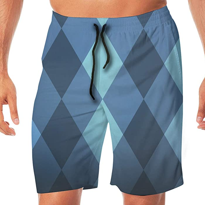cb2da66454 Amazon.com: Custome Men's Beach Pants 3D Diamond Pattern Quick-Drying  Casual Shorts with Pockets Swim Trunks for Man Boys: Clothing