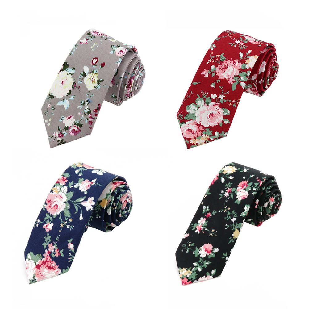 Mantieqingway Men's Cotton Printed Floral Neck Tie (Color 12)