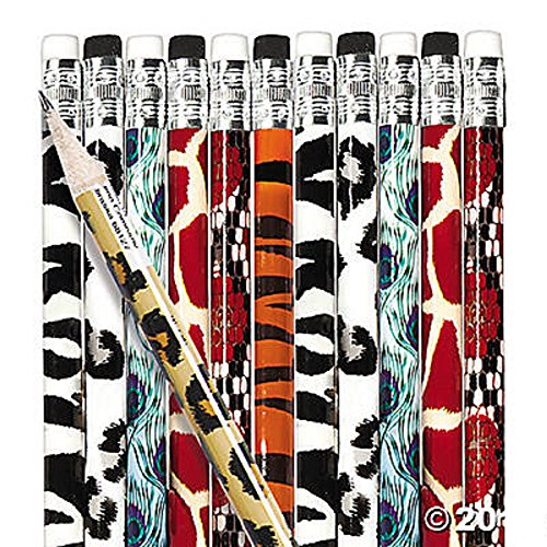 12 - Animal Print Pencils - 7 1/2 inch - New -