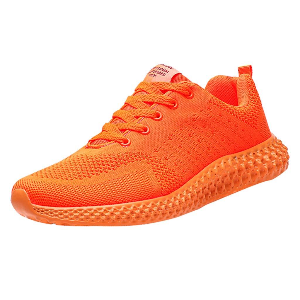 ❤Kauneus❤ Women Men Candy Color Fitness Outdoor Sneakers Unisex Comfy Sole Fly Knit Sport Shoes Jogging Running Shoes Orange by Kauneus Fashion Shoes
