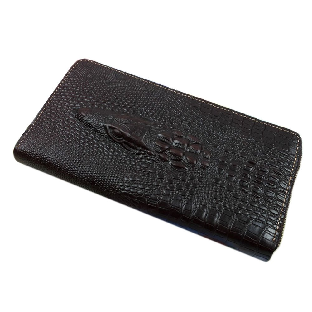 Genda 2Archer Genuine Leather Long Zipper Wallet Purse Crocodile Embossed