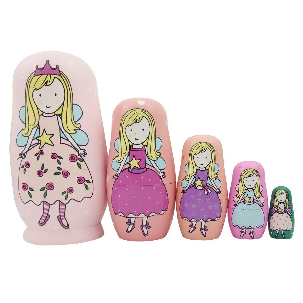 Vingi 5 Pieces Cute Nesting Dolls Matryoshka Doll Russian Handmade Wooden Dolls Cartoon Angel Girl Pattern Toy Gift 6'' Tall by vingi