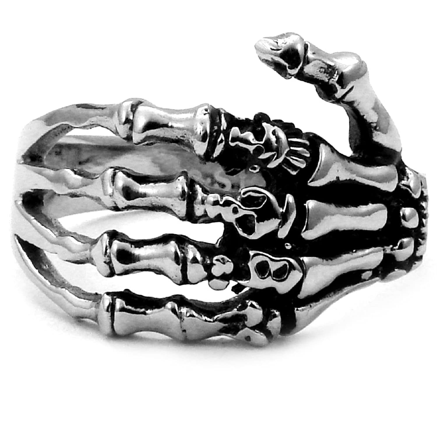 amazoncom stainless steel biker ring with gothic skeleton hand crazy2shop jewelry - Biker Wedding Rings