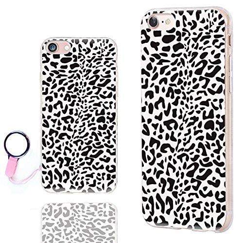iPhone 8 Case Cute,iPhone 7 Case Cool,ChiChiC [Orignal Series] Anti-Scratch Slim Flexible Soft TPU Rubber Cases Cover for Apple iPhone 7 8 4.7 Inch, Black White Animal Skin Leopard Print (Leopard Black Cover)