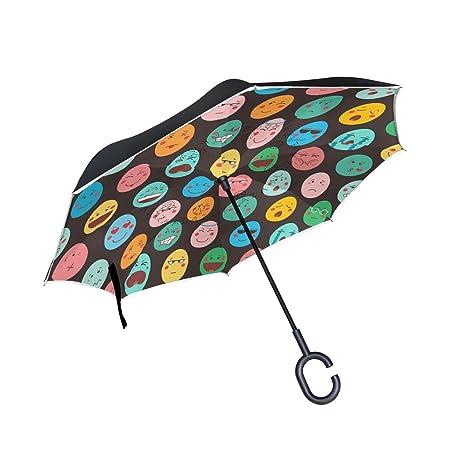 jstel doble capa puede Emoji colorido huevos de Pascua paraguas coches Reverse resistente al viento lluvia paraguas para coche al aire libre con asa en ...
