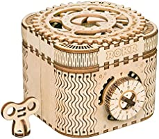 ROKR 3D Wooden Puzzle Mechanical Treasure Box Model DIY Brain Teaser Projects for Adult Kid Age 14+