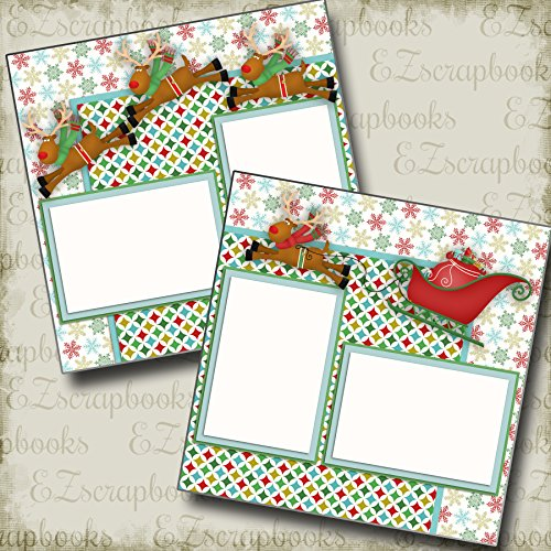 Premade Christmas Layouts - SANTA'S SLEIGH - Premade Scrapbook Pages - EZ Layout 2350