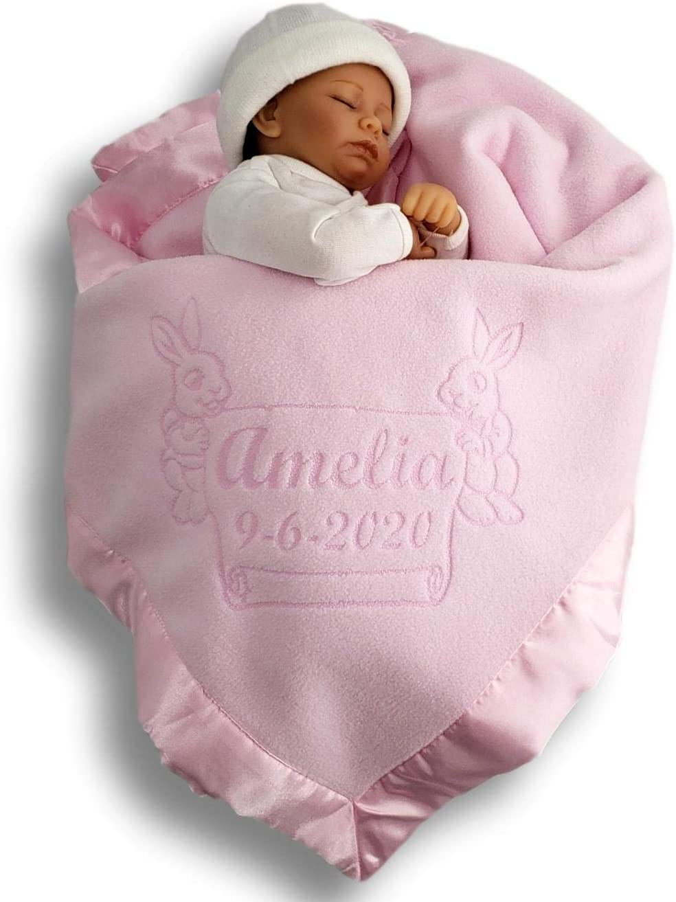 personalized blankie rosebud fabric gift Personalised Baby Tag Blanket new baby Comforter Blue