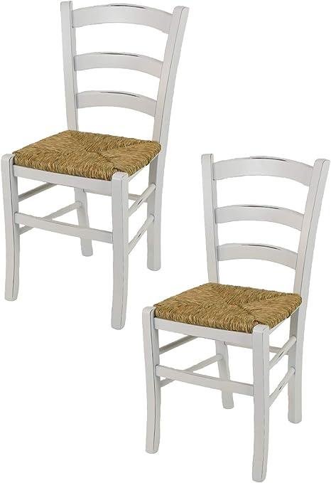 tmcs Tommychairs Set 2 sedie Modello Venezia per Cucina e Sala da Pranzo Stile Shabby Chic, Robusta Struttura in Legno di faggio Anticata