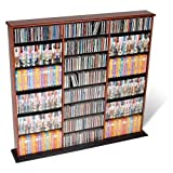 Prepac Triple Wide Wall Storage / CD Rack - Cherry & Black