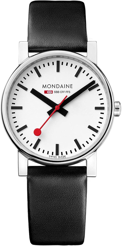 Mondaine SBB EVO 35mm A658.30300.11SBB Reloj de Pulsera Cuarzo Hombre Correa de Cuero Negro