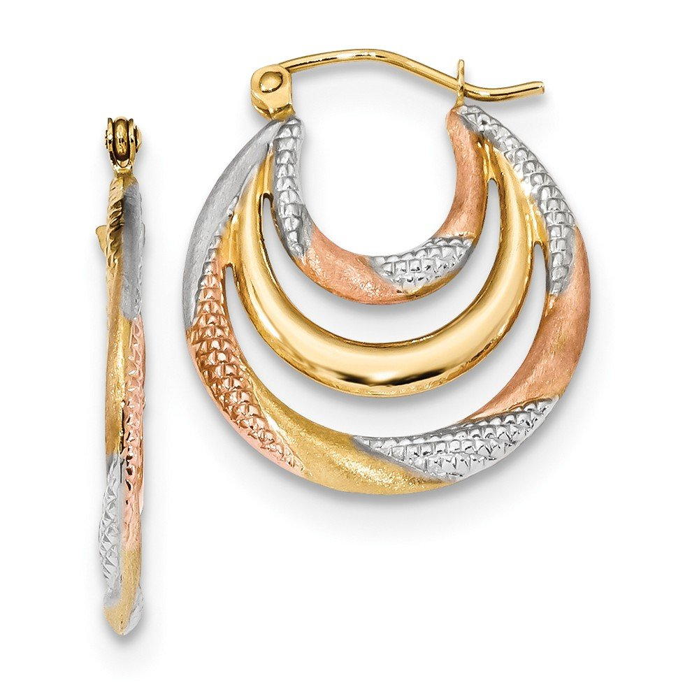 Mia Diamonds 14k Yellow Gold Yellow Gold with White and Rose Rhodium Satin and Diamond-Cut Hoop Earrings