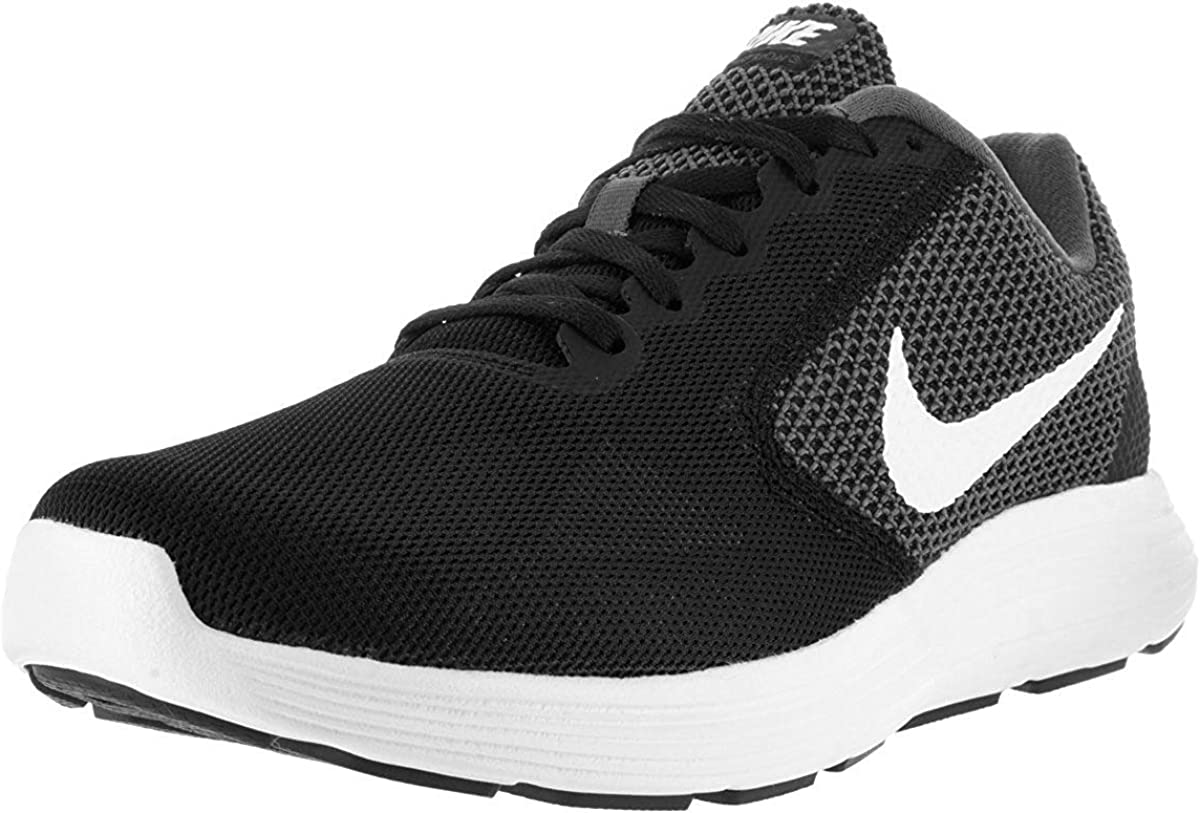 Nike Mens Revolution 3 Low Top Lace Up Running, Dark Grey White Black, Size 13.0