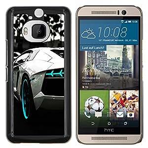 YiPhone /// Prima de resorte delgada de la cubierta del caso de Shell Armor - B & W AZUL AVENTADOR - HTC One M9Plus M9+ M9 Plus