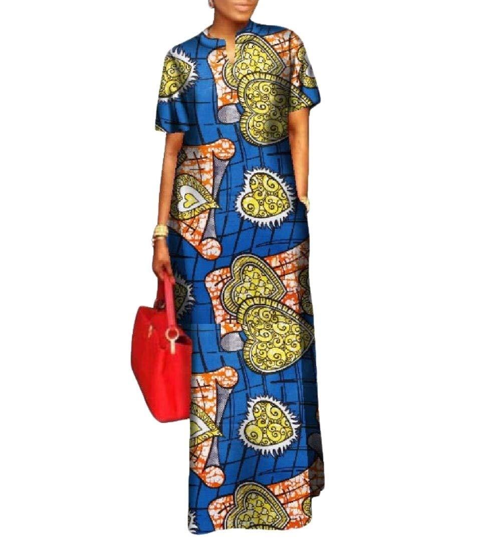 Winwinus Women's Wrap Dashiki African Print Plus Size Evening Gown Maxi Dress 1 6XL