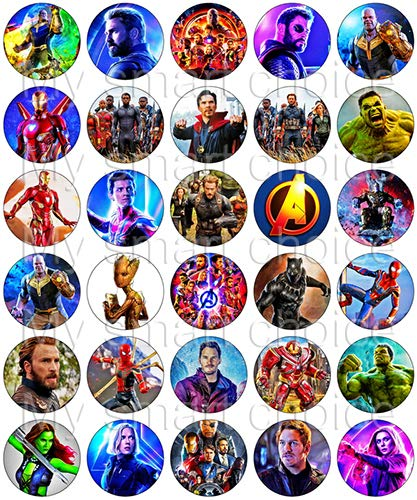 30 x Edible Cupcake Toppers - Avengers: Infinity War Themed Collection of Edible Cake Decorations | Uncut Edible Prints on Wafer Sheet by My Smart Choice (Image #1)