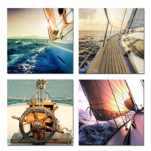 Creative Art - Sailing Boat Canvas Wall Art Yachting Voyages in the Sea at Sunset Pictures Printed on Canvas Prints Framed Wall Decor Ready to hang Canvas Set of 4 (16' Box Flower Square)