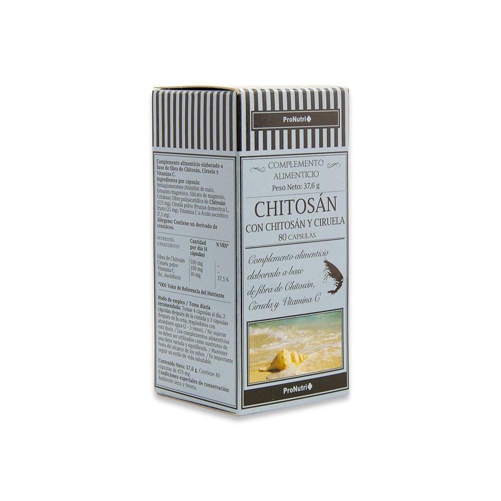 PRONUTRI - PRONUTRI Chitosán con Chitosán y Ciruela 80 cápsulas: Amazon.es: Salud y cuidado personal