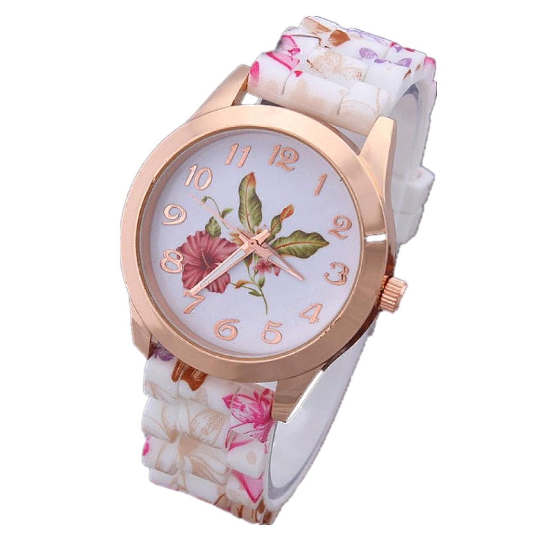 クリアランスレディースユニーク腕時計, sinmaカジュアル腕時計シリコンフラワーパターンアナログクオーツ腕時計 B072HLRDJ6 オレンジ