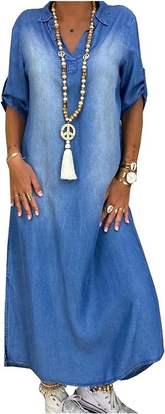 SCOFEEL Women's Summer Casual Denim Dresses Roll-Up Sleeve Shirts Dress Plus Size