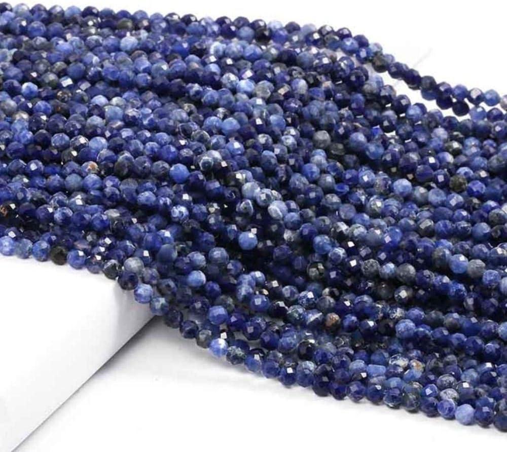 Cuentas pequeñas Cuentas de piedras preciosas de piedra natural 2 3 4 mm Sección Cuentas sueltas para hacer joyas Collar DIY Pulsera 38 cm, Sodalita, 2 mm