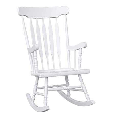 HOMCOM Wooden Baby Nursery Rocking Chair – White