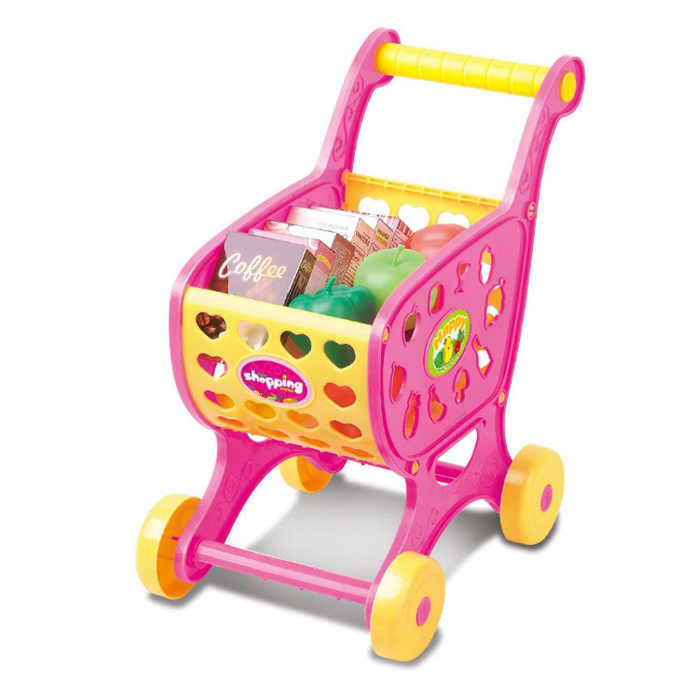 DICPOLIA Shopping Carts Fruit Vegetable Pretend Play Children Kid Educational Toy,Car Toys for Kids Toddlers Baby Boys Girls Adults Seat Model Toys Steering Wheel Car Toy Track (Pink)