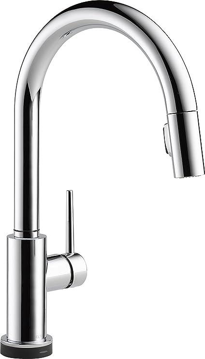 delta faucet trinsic single handle touch kitchen sink faucet with rh amazon com