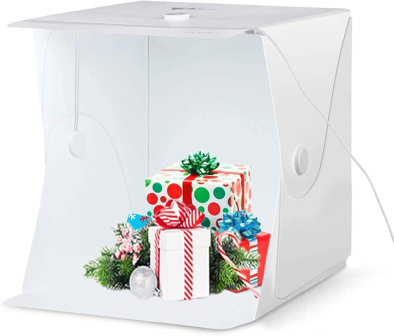 Amzdeal Caja de Luz 40x40x40cm,Caja de Fotografía Portátil con Soporte Firme para Estudio Fotográfico con Tira de LED y 4 Fondos Blanco/Negro/Azul/Verde (Versión Mejorada)