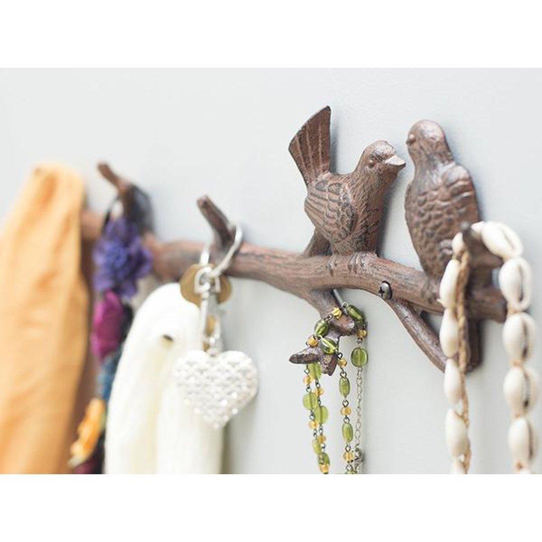 Estante decorativo del gancho de la pared del arrabio 46.99x5x11.43cm- Con tornillos y anclajes por Comfify ropa Marr/ón sombreros Reparto de Aves de hierro en la rama de suspensi/ón con 6 ganchos llaves toallas Para abrigos